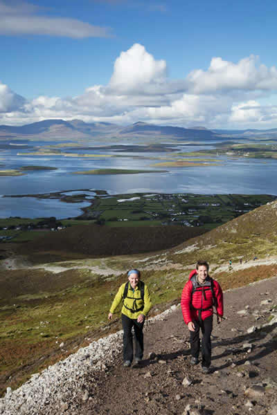 Walkers on the path up Croagh Patrick, Co Mayo, Ireland
